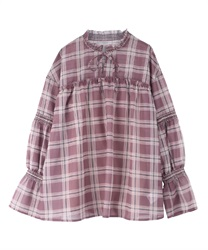 【OUTLET】チェックスモッキングブラウス【web限定】