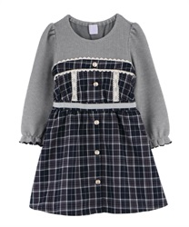【OUTLET】【Web限定】 (キッズ)チェック柄ドッキングワンピース
