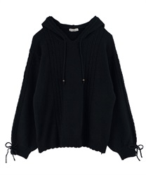 【OUTLET】袖リボンニットパーカー