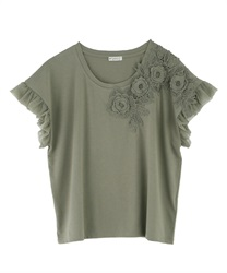 【OUTLET】【2点10%OFF対象】お花レースTシャツ